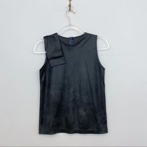 Vintage Bow Shoulder Metallic Grey Blouse